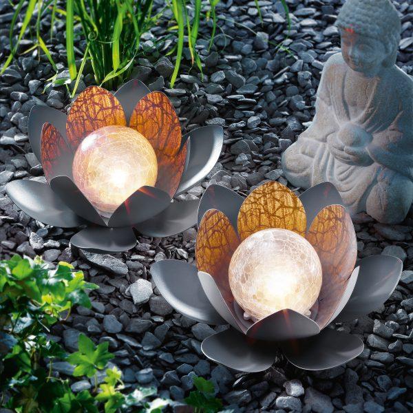 Lotusblüten Solarleuchten Duett