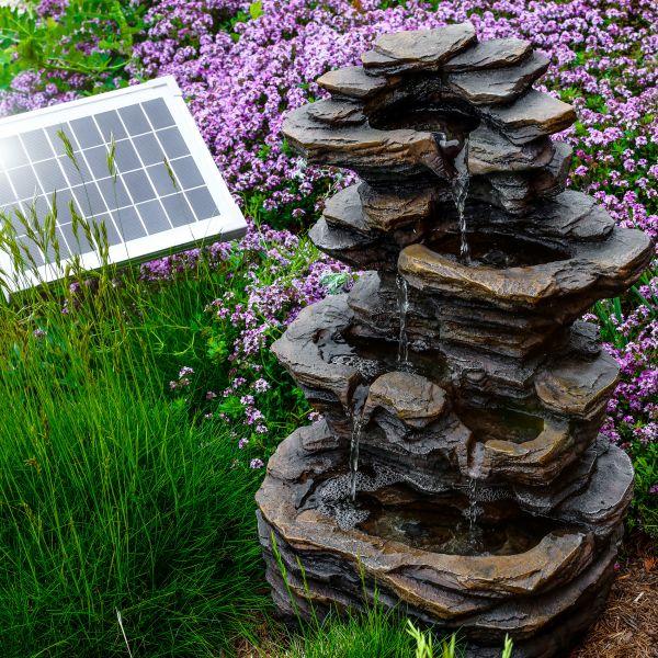 Solarbrunnen Rock Fountain mit Akkuspeicher