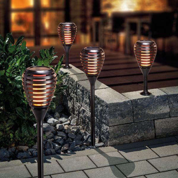 Solar Gartenfackel Athen mit Flammeneffekt 4er Set