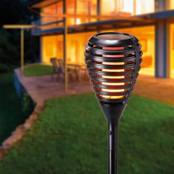 Solar Gartenfackel Athen mit Flammeneffekt