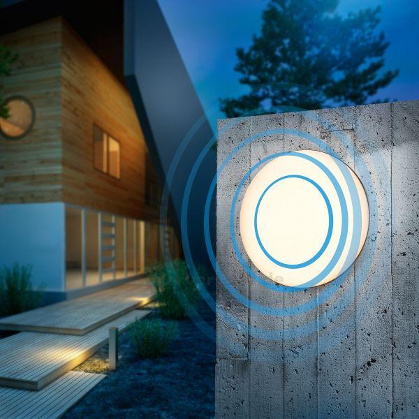 Formschöne LED Wand- und Deckenleuchte Maja mit MW-Sensor