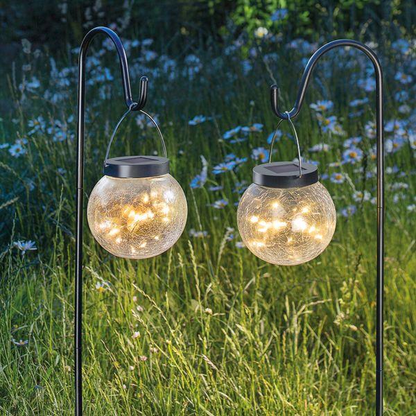 Solar Hängeleuchten Golden Balls 2er Set