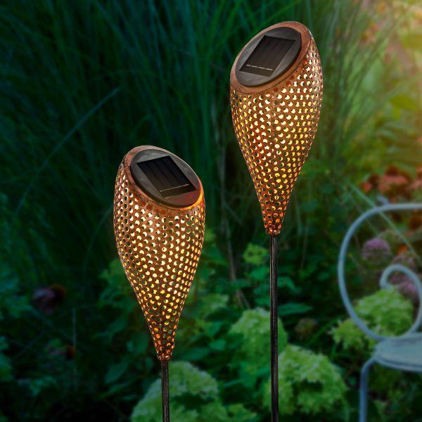 Solar Gartenstecker 2er-Set Messina aus Metall
