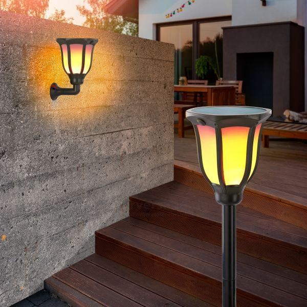 Solarbetriebene Gartenfackel Akropolis im 2er Set