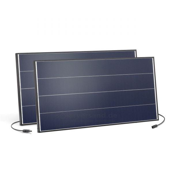 2 Stück PV-Insel Solarmodul 100Wp 18V MC4 Schindeltechnik