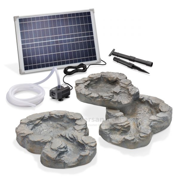 Solar-Bachlaufschalen-Set 3-teilig mit Pumpe