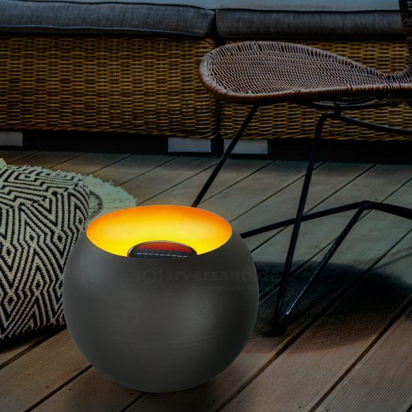 Solar Feuerschale mit realistischem Flammeneffekt