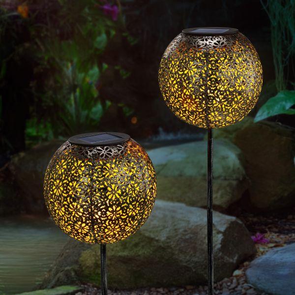 Solar Gartenstecker 2er-Set Luana in Kugelform