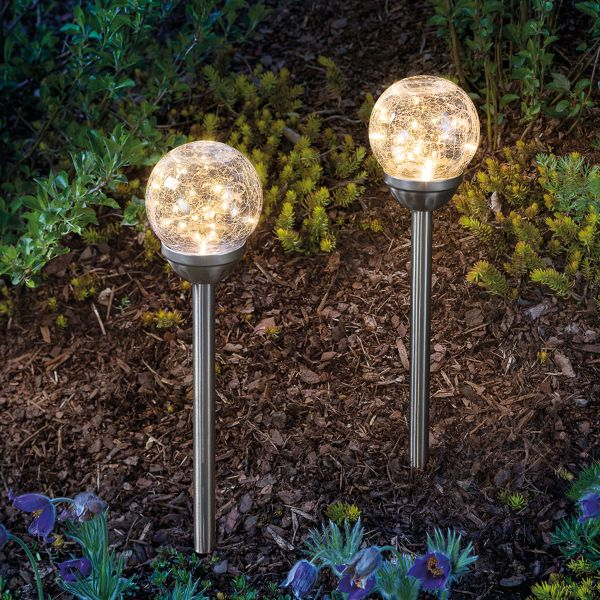 Solar Steckleuchten Golden Balls 2er Set