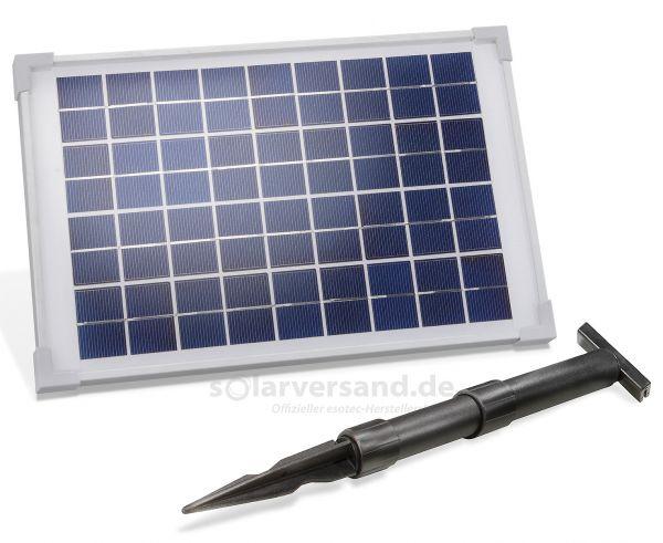 Solarmodul 10Wp 18V Stecker 2-polig klein inkl. Halterung