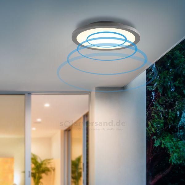 Elegante LED Wand- und Deckenleuchte Iris mit MW-Sensor