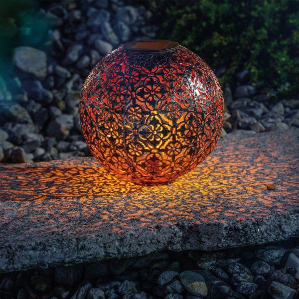 Ornament-Solarkugel Basima 18 cm aus Metall
