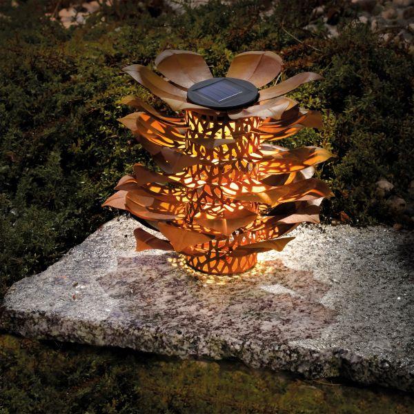 Rostfarbene Solar Dekoleuchte Kokuna