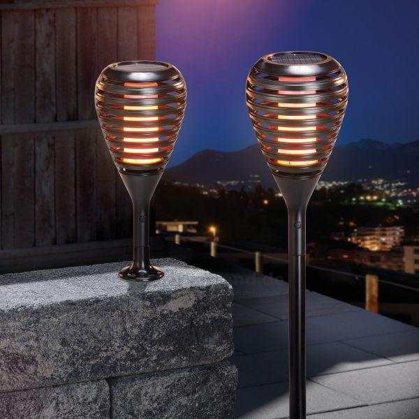 Solar Gartenfackel Athen mit Flammeneffekt 2er Set