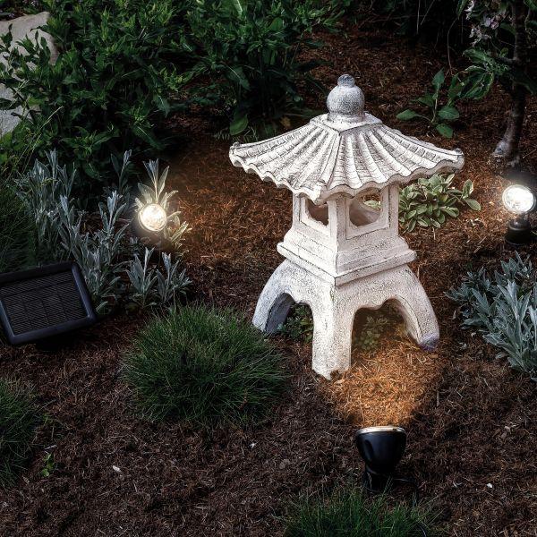 Beleuchtete Solar Gartenpagode Ping in warmweiß