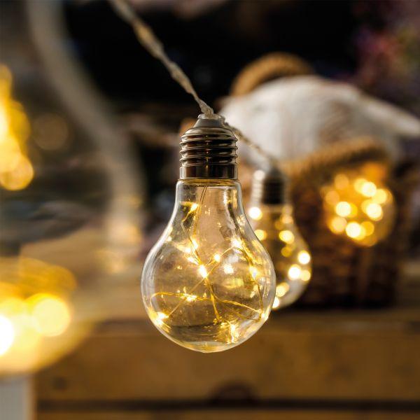 Solar Deko-Lichterkette mit 10 Glühbirnen