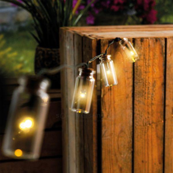 Solar Lichterkette mit 20 Glasfläschchen