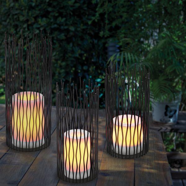 Stilvolle Solarleuchten Bamoko im 3er-Set