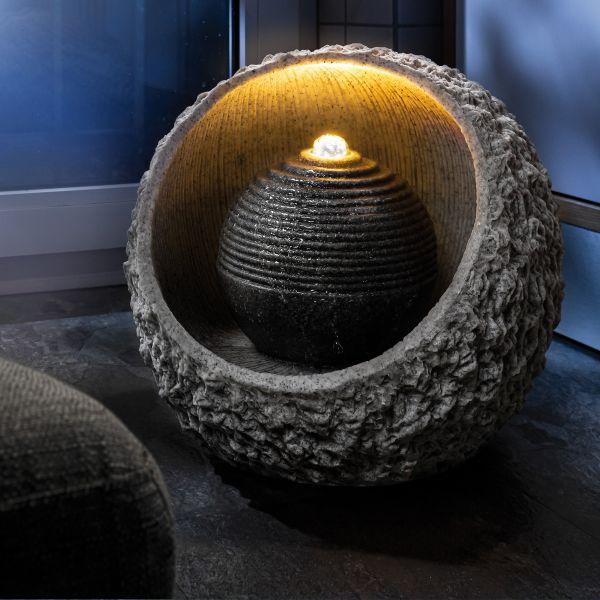 Polyresin-Zimmerbrunnen RockStone 40 mit LED