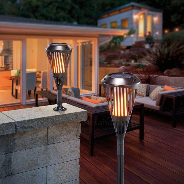 Solar Gartenfackel Rhodos mit Flammeneffekt