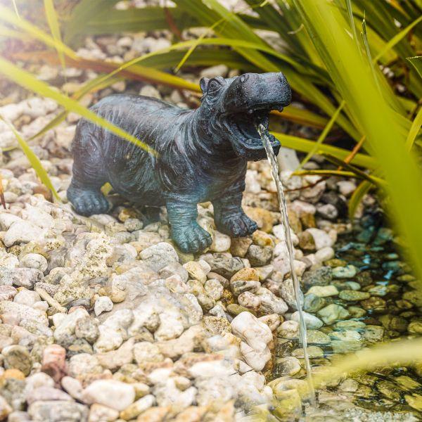 Solar Wasserspeier Nilpferd Hippo