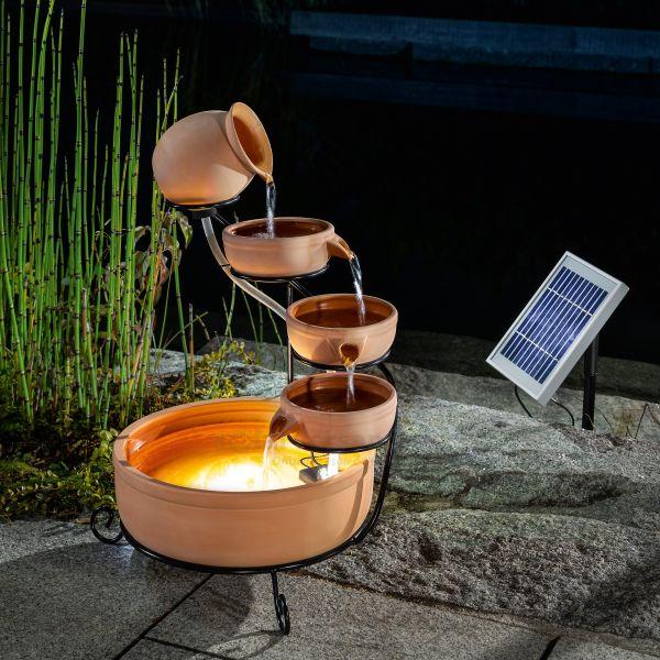 Solar Kaskadenbrunnen Lucca mit LED Beleuchtung