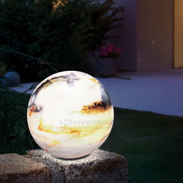 Solar Leuchtkugel 26 cm in Marmor-Optik