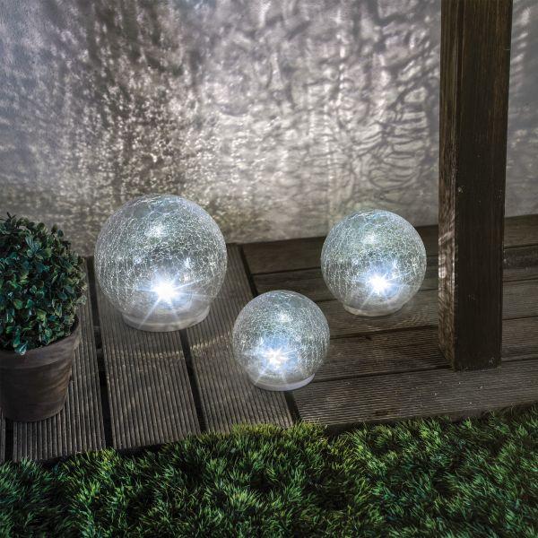 Solar Glas Leuchtkugeln 3er Set