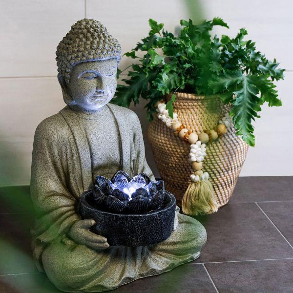 Dekobrunnen Buddha für Innen mit LED Licht