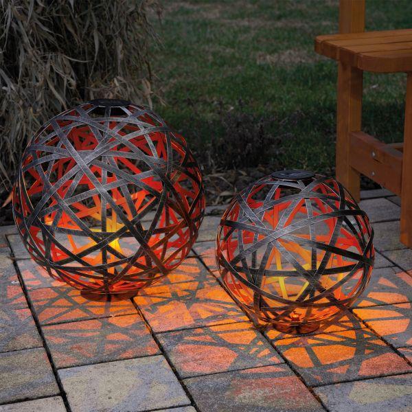 Solar Metall-Dekokugel Bahira 30 und 40 cm im Set
