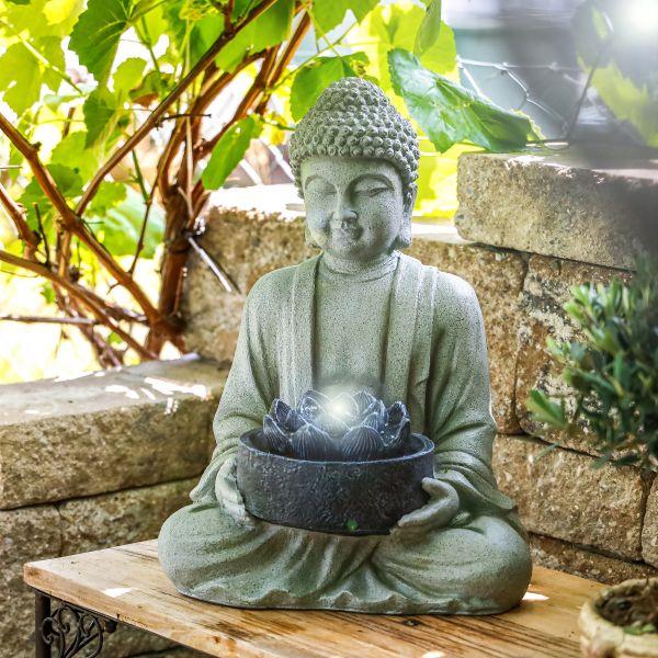 Garten-Dekobrunnen Buddha mit LED Beleuchtung