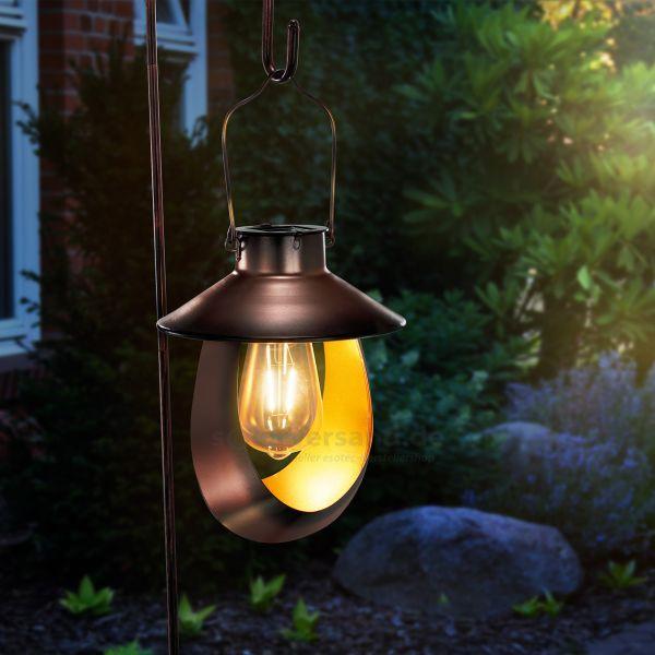 Kupferfarbene Solar Hängeleuchte Mondello mit Erdspieß