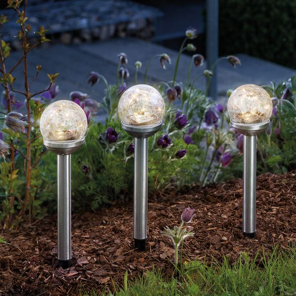 Solar Gartenstecker Golden Balls 3er Set