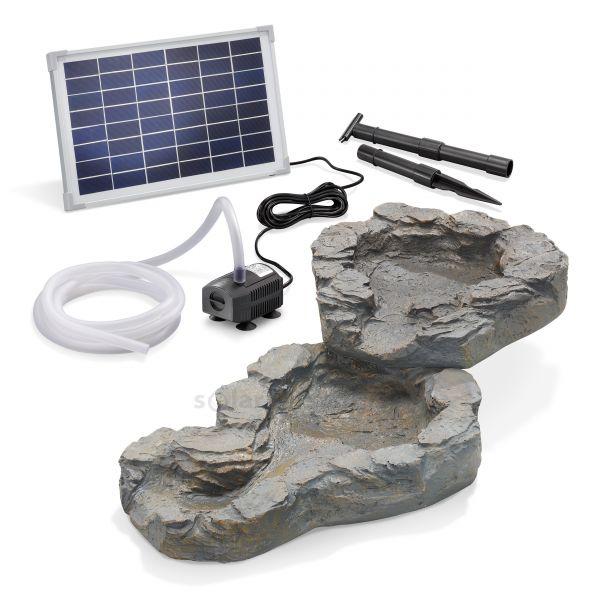 Solar-Bachlaufschalen-Set 2-teilig mit Pumpe