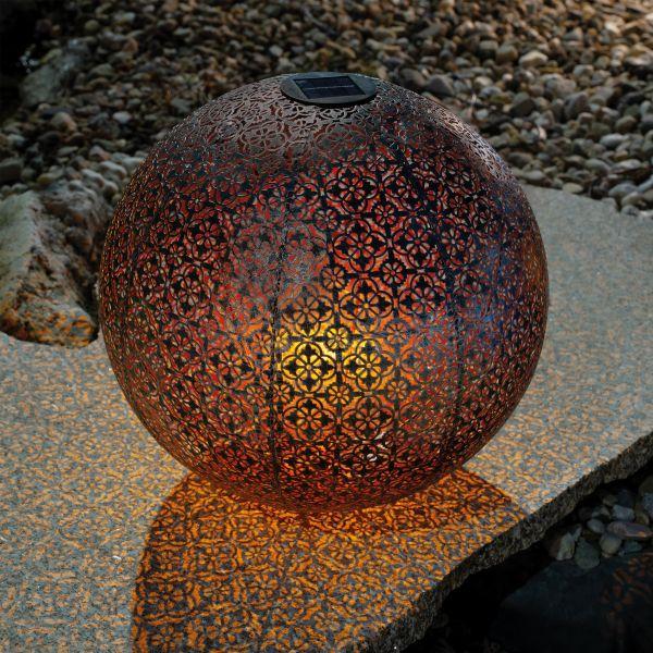 Ornament-Solarkugel Basima 40 cm aus Metall