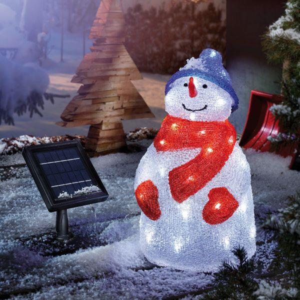 Beleuchteter Solar Schneemann Kurt aus Acryl