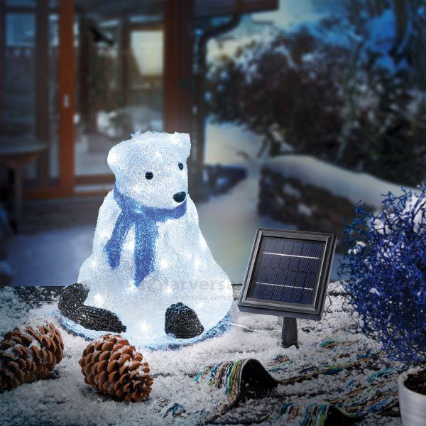 Beleuchteter Solar Eisbär Fritz aus Acryl